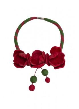 Colier lana impaslita ,  unicat, handmade, Coral-Verde